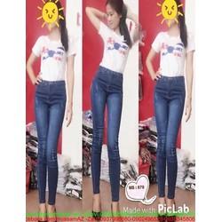 Quần jean nữ lưng cao kiểu lật da sước nhẹ cá tính QD264
