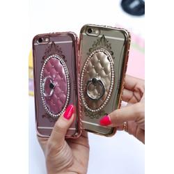 Ốp SHENGO viền đính đá lưng da kèm iring cực sang chảnh cho Iphone