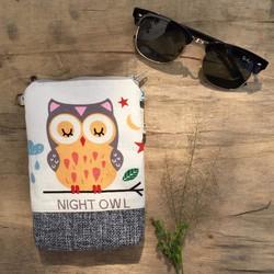 PB21 - Lila Túi Đựng Điện Thoại Handmade Họa Tiết Cú mèo Night owl