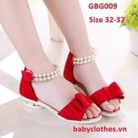 [Size 32-37] Giày Nhung Đỏ Bé Gái Sang Chảnh