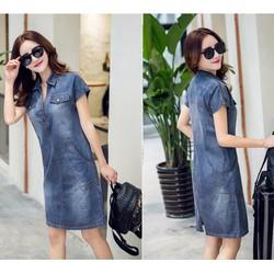 Đầm jean phối túi may chỉ viền cao cấp D1600131TTSH- hàng đẹp y hình