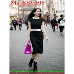 Sét áo tay con phối viền cổ trắng và chân váy bút chì SEV396