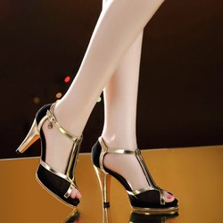 Giày cao gót lưới phối viền da cao cấp - hàng đẹp