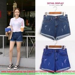 Quần short jean nữ sước nhẹ xắn lai phong cách zQS59