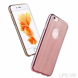 Ốp lưng iPhone 5-5s-se dẻo lưới dạng Carbon - Màu vàng hồng