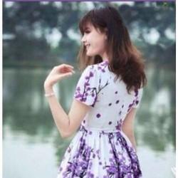 Đầm xòe  họa tiết hoa anh đào DU31616