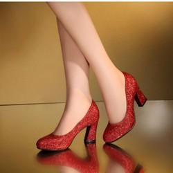 Giày cao gót bít mũi kim tuyến thời trang - LN287