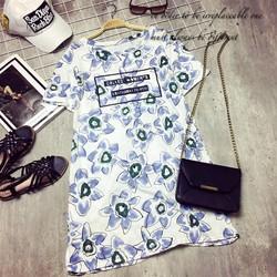 Đầm thun hoa kèm chân váy lưới