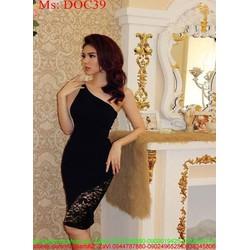 Đầm body đen lệch vai phối ren lưới sành điệu DOC39