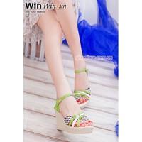 Giày đế xuồng màu xanh lá