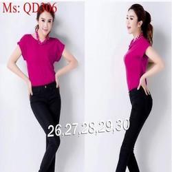 Quần jean nữ lưng cao ống ôm kiểu dáng đơn giản QD306