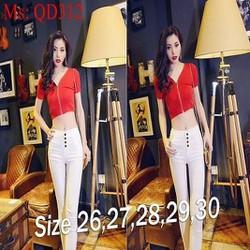 Quần jean nữ lưng cao ống ôm trắng trẻ trung đính 4 nút QD312