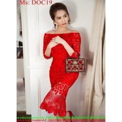 Đầm dự tiệc body bẹt vai sành điệu vải ren đỏ sang trọng DOC19
