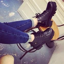Giày boot cột dây đế 3 tầng 1 dây kéo
