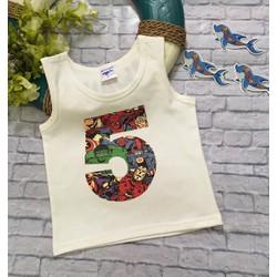 Áo cotton ba lỗ số 5 sành điệu cho bé trai 25-40kg
