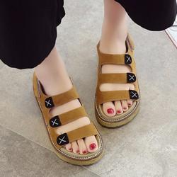 Giày sandal nữ quai da đế cao bền chắc màu da bò