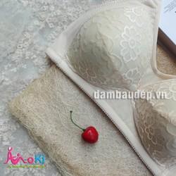 Áo lót cho con bú - Bra ren hoa cúc - AN4085 Cotton