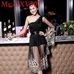 Đầm xòe dự tiệc thiết kế lệch vai phối ren hoa văn sang trọng DXV307