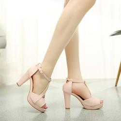 Giày cao gót hở mũi Glory màu hồng