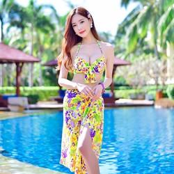 Đồ bơi bikini nữ 3 mảnh hoa vàng kèm khăn choàng
