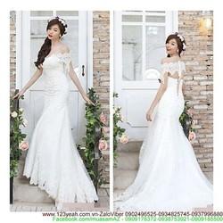 Đầm cô dâu trễ vai đuôi cá tự tin khoe dáng đẹp sDMX83
