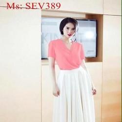 Sét áo cổ V và chân váy xòe xinh đẹp thời trang SEV389