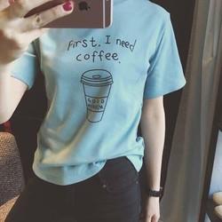 áo in I need coffee tay lỡ xanh