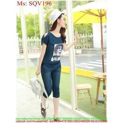 Sét áo khoét vai hình cô gái và quần lửng ôm sành điệu SQV196