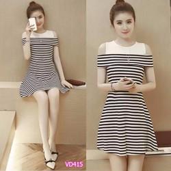 Đầm xòe thiết kế bẹt vai - VD415