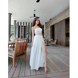 Set áo ren cúp ngực + váy maxi xẻ tà Cao cấp - SETPC01215