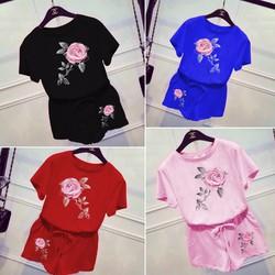 hàng việt nam loại 1-set short hoa hồng nổi- 4666