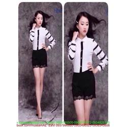 Sét áo sơ mi dài tay phối sọc đen và quần short sành điệu zSN16