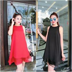 Đầm suông sát nách lai phối ren Bạch Nguyễn VN421