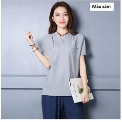 Áo cotton trung niên dành cho người mập 2016 - MZ177