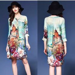 Đầm suông in tranh hoa BD185 - HÀNG NHẬP HQ CAO CẤP Y HÌNH
