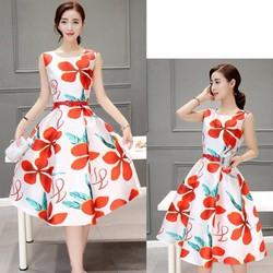 HÀNG CAO CẤP - Đầm tùng xòe họa tiết Hoa Phượng Đỏ