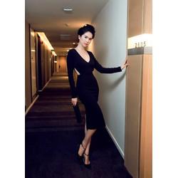 Đầm đen khoét eo dài tay thiết kế sang trọng như Ngọc Trinh M3190