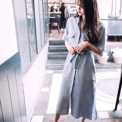 Đầm sơmi cột nơ