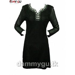Đầm ren suông sang trọng, quý phái MY GU D139 - Màu đen