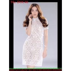 Đầm body tay con vải ren hoa nổi trẻ trung sành điệu zDOC48