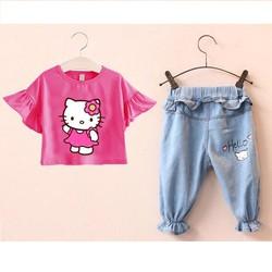 Bộ thun bé gái phối quần jean Mèo Kitty dễ thương NX520