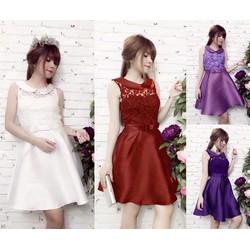 Đầm Xòe Cổ Sen Phối Ren Nana MT-D681