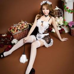 Đồ ngủ cosplay hầu gái đen phối ren trắng TK591