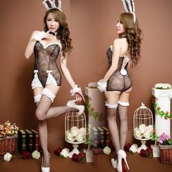 Đồ ngủ cosplay thỏ đen phối ren trắng TK590