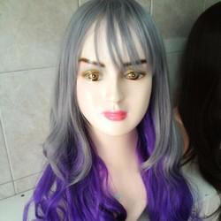 tóc giả nữ line màu tím tặng lưới trùm
