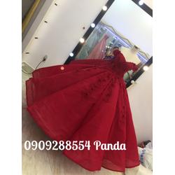 áo cưới tay ngang đỏ đô nóng bỏng tùng múi phồng to mode 2016