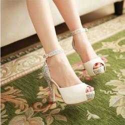 Giày cao gót nữ hở mũi kim tuyến - LN292