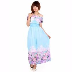 Đầm Maxi Hoa Trễ Vai XANH W2856XANH