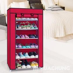 Tủ vải để giày dép 6 tầng màu đỏ mận Free ship nội thành hà nội
