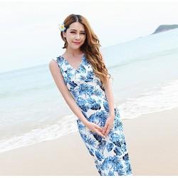 Đầm maxi thun lụa bãi biển họa tiết hoa lá